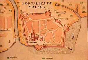 Siege of Malacca (1568) - 1630 map of the Portuguese fort and the city of Malacca.