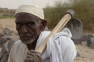 Manasir - Manasir farmer with a turiah over his shoulder