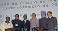 Manmohan Singh at the (I.B.SA) Closing ceremony group photo with the Foreign Affairs Minister of South Africa, Ms. Nkosazana Alamini Zuma, the Union Minister for Commerce and Industry, Shri Kamal Nath.jpg
