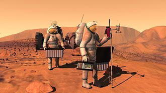 Vision for Space Exploration - Concept art by NASA of two people in suits on Mars setting up weather equipment.