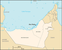 Location of Abu Dhabi in the UAE, with regions