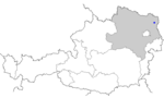 Map of Austria, position of Zistersdorf highlighted