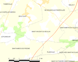 Mapa obce Saint-Vincent-du-Boulay
