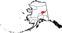 Map of Alaska highlighting Fairbanks North Star Borough