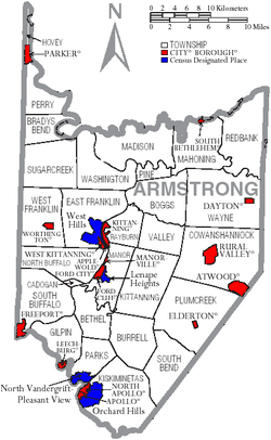 Map of Armstrong County, Pennsylvania with Municipal Labels showing Cities and Boroughs (red), Townships (white), and Census-designated places (blue).