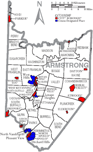 Armstrong County, Pennsylvania - Map of Armstrong County, Pennsylvania with Municipal Labels showing Cities and Boroughs (red), Townships (white), and Census-designated places (blue).