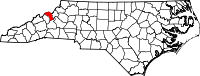 Map of North Carolina highlighting Mitchell County