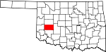 State map highlighting Washita County