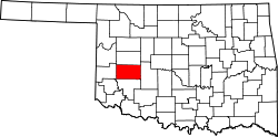 Map of Oklahoma highlighting Washita County.svg