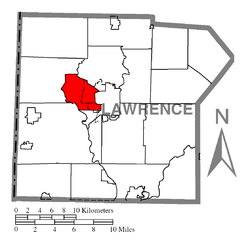 Location of Union Township in Lawrence County