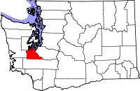 Map of Washington highlighting Thurston County