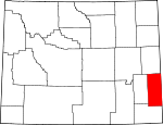 Map of Wyoming highlighting Goshen County.svg