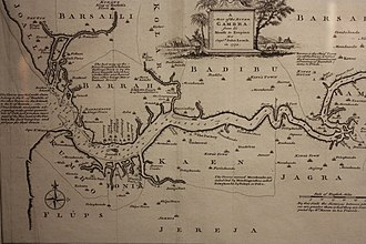 Gambia River - Image: Map of the River Gambra (now the Gambia) 1732