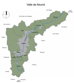 Aburrá Valley - Political division of the Aburrá Valley (in dark gray, the urban areas of The Metropolitan Area of the Aburrá Valley).