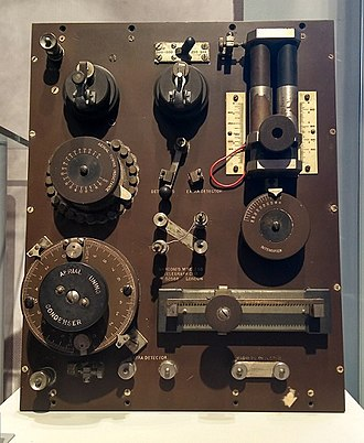 Aviation in World War I - A Marconi Crystal Receiver, Mark III, known as a 'Cat's Whisker receiver', and used on the ground to receive signals from aeroplanes.  Displayed at Porthcurno Telegraph Museum.