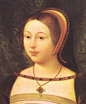 Margaret Tudor - Detail of a portrait by Daniel Mytens