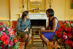 Margarita Zavala - First Lady Zavala with First Lady of the United States Michelle Obama in the Yellow Oval Room, February 2010.
