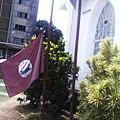 Maroon flag outside St John's Church, Freetown.jpg