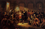 19th-century painting depicting the marriage of Pocahontas and John Rolfe