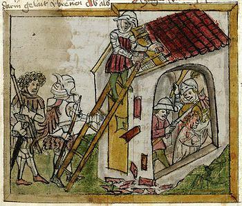 Wiborada's martyrdom, depicted before 1451/60 in Codex Sangallensis 602