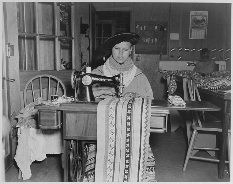 File:Mary Parker, a young Seminole girl, using sewing machine at the Brighton Day School on the Glades County Reservation, Fl - NARA - 519170.jpg