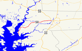 A map of Wicomico County, Maryland showing major roads.  Maryland Route 349 runs from Nanticoke east to Salisbury.