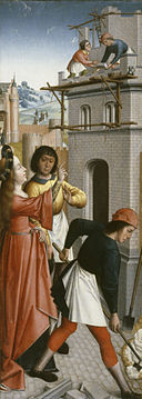 Master of the Joseph Sequence - St Barbara Directing the Construction of a Third Window in Her Tower - Walters 37777.jpg