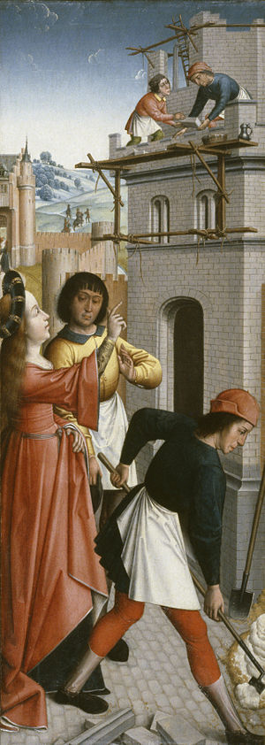 Master of Affligem - Image: Master of the Joseph Sequence St Barbara Directing the Construction of a Third Window in Her Tower Walters 37777