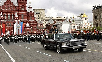 Valery Gerasimov - General Gerasimov leading a Victory Day parade in Moscow and a ZiL 41044, 9 May 2011