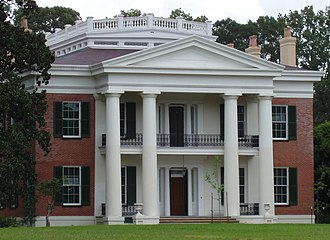 National Register of Historic Places architectural style categories - Greek Revival facade of Melrose plantation house, Mississippi.