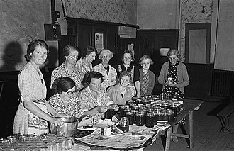 "Women's Institutes - 1941: Members of Meifod WI busy ""jamming"" under the Ministry of Food fruit preserving scheme"