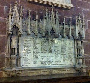 Cheshire Regiment - Memorial in Chester Cathedral to the men of the Cheshire Regiment who died in South Africa