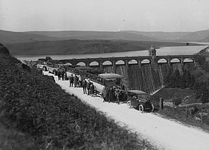 Elan Valley Reservoirs - Men and women in buses and cars visiting a reservoir in Elan Valley c.1910