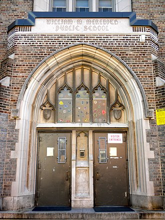 William M. Meredith School - Entrance detail