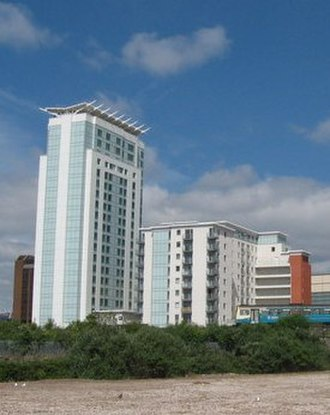 Meridian Gate, Cardiff - Radisson Blu hotel (left) and Meridian Plaza (right)