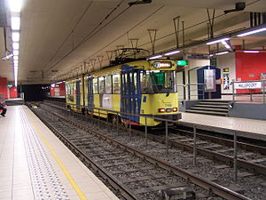 Trams in Brussels - A tram at Porte de Hal premetro station