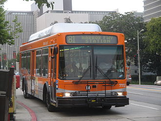 Los Angeles County Metropolitan Transportation Authority - A Metro Local bus on Line 81 (Figueroa St.) with its trademark orange color