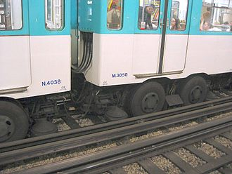 Third rail - Paris Metro. The guiding rails of the rubber-tyred lines are also current conductors. The horizontal current collector is between the pair of rubber wheels.
