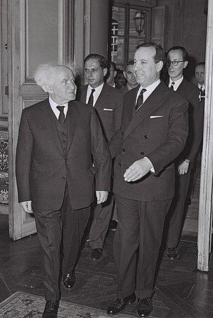 Michel Debré - Michel Debré with David Ben-Gurion at Hotel Matignon, on the first official visit of Israeli Prime Minister to Paris. June, 1960