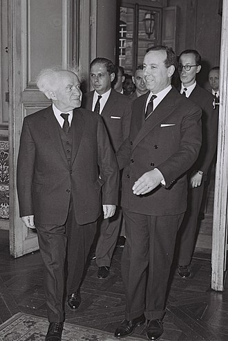 Michel Debré - Michel Debré with David Ben-Gurion at Hotel Matignon, on the first official visit of Israeli Prime Minister to Paris. June, 1960