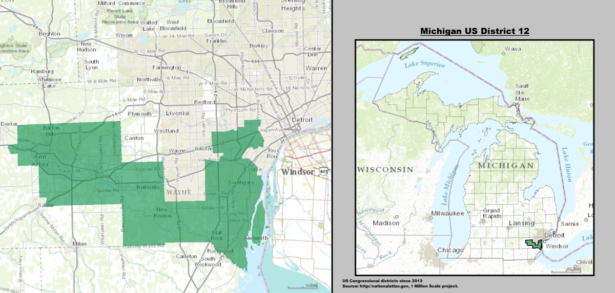 Us 12 Michigan Map Michigan's 12th congressional district   Wikipedia