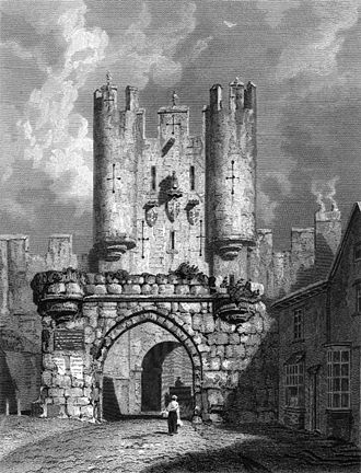 Etching from 1814 showing Micklegate Bar with its ruined barbican still in place Micklegate Bar etching.jpg