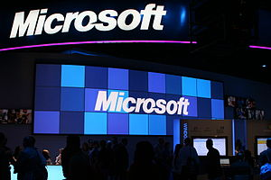 Microsoft booth at the Consumer Electronics Sh...