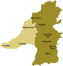 Mid Wales Map Mid Wales – Travel guide at Wikivoyage