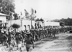 Troops of Fascist Italy in the Abyssinian capital Addis Ababa