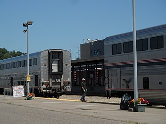 Midway station (Minnesota) - The Empire Builder at the Midway station, August 2011