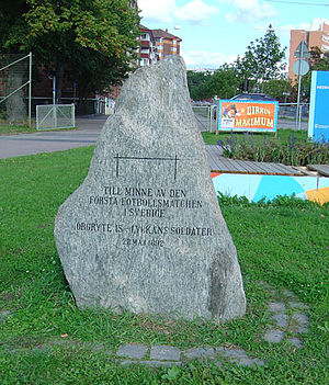First football match in Sweden - Memorial stone at Heden.
