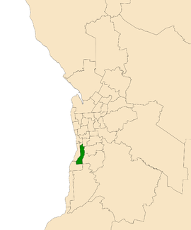Map of Adelaide, South Australia with electoral district of Mitchell highlighted