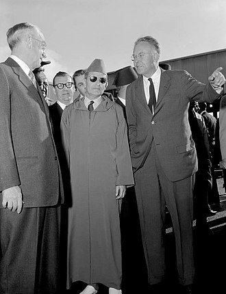 Morocco–United States relations - Sultan Mohammed V of Morocco visiting Lawrence Livermore National Laboratory, United States, in 1957