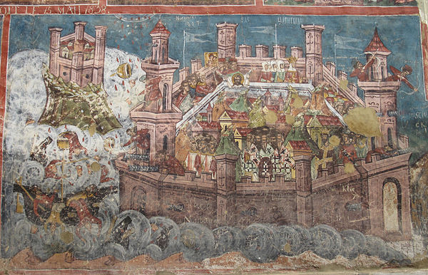 The Siege of Constantinople by the combined Sassanid, Avar, and Slavic forces in 626. A 1537 depiction on the murals of the Moldovița Monastery, Romania